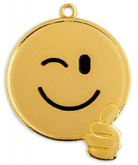Kindermedaille Smiley Goldfarbig mit Band